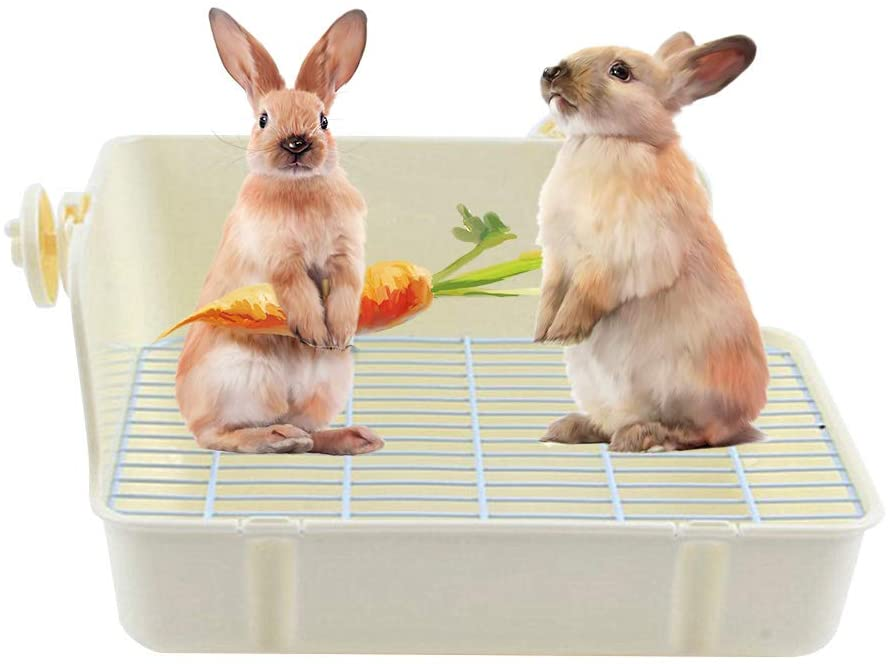 Rabbit Cage Litter Box Easy to Clean Potty Trainer, Bunny and Small Rabbit Cage Litter Box Corner Tray Pan with grate for Potty Training, Trainer Corner Bedding Litter Box for Small Animal,