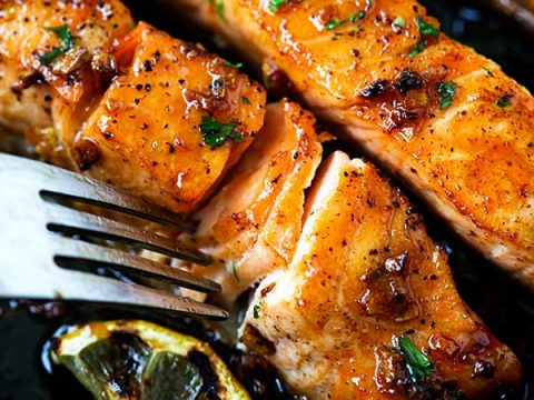 Salmon Recipe - Honey Garlic Salmon - Rasa Malaysia
